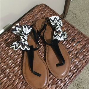 BAMBOO black sandal with bows